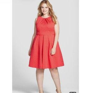 Eliza J Coral Pink Cross Hatch Texture ALine Dress